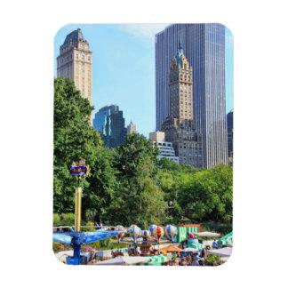 Central Park Amusement Park, Skyscraper backdrop Rectangular Photo Magnet
