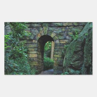 Central Park: Arco de piedra del paseo Pegatina Rectangular