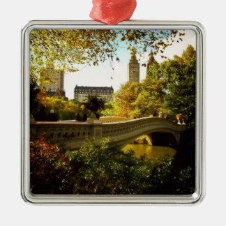 Central Park Autumn - New York City Square Metal Christmas Ornament