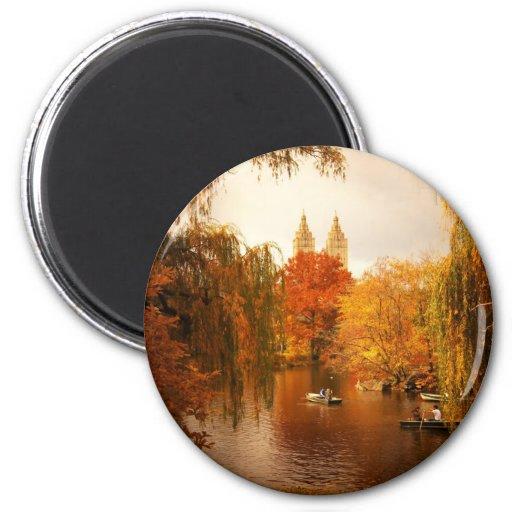 Central Park Autumn Romance 2 Inch Round Magnet
