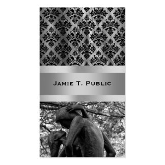 Central Park Autumn: Romeo & Juliet Statue 01 B&W Double-Sided Standard Business Cards (Pack Of 100)