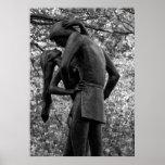 Central Park Autumn: Romeo & Juliet Statue 01 B&W Print