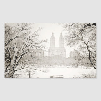 Central Park - Beautiful Winter Snow Rectangle Stickers