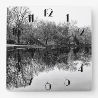 Central Park Black and White Landscape Photo Square Wall Clock