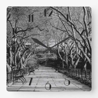 Central Park Black & White Landscape Photo Square Wall Clock