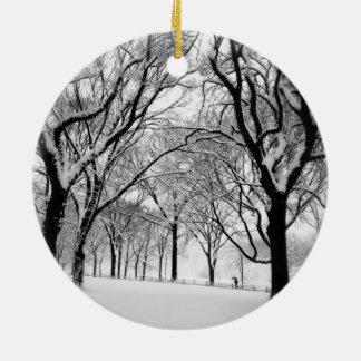 Central Park Blanketed In White Ceramic Ornament