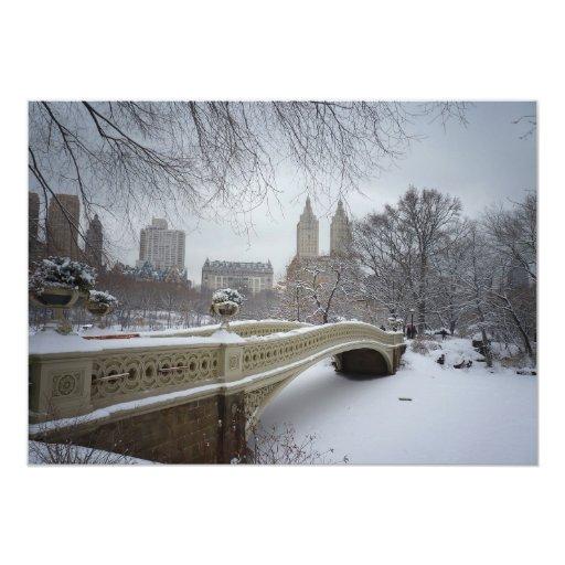 Central Park Bow Bridge - New York  Winter Wedding 5x7 Paper Invitation Card
