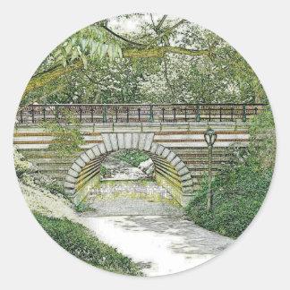Central Park Bridge and Path Classic Round Sticker
