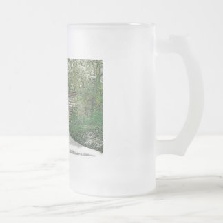 Central Park Bridge and Path Frosted Glass Beer Mug