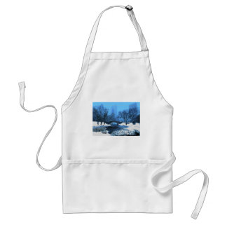 Central Park Bridge at Twilight in the Snow Adult Apron