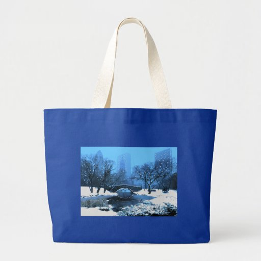 Central Park Bridge at Twilight in the Snow Jumbo Tote Bag