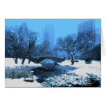 Central Park Bridge at Twilight in the Snow Greeting Card