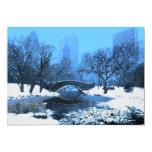Central Park Bridge at Twilight in the Snow 5x7 Paper Invitation Card