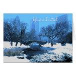 Central Park Bridge at Twilight in the Snow Invite Card