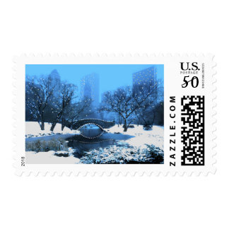 Central Park Bridge at Twilight in the Snow Postage