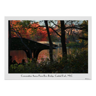 Central Park Conversation Across From Bow Bridge C Poster