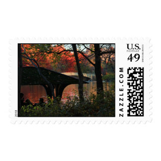 Central Park: Conversation Across From Bow Bridge Postage Stamp