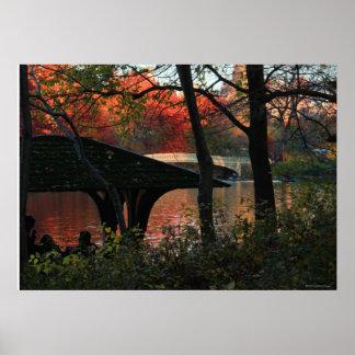 Central Park: Conversation Across From Bow Bridge Print
