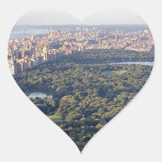 Central Park de NY Pegatina En Forma De Corazón