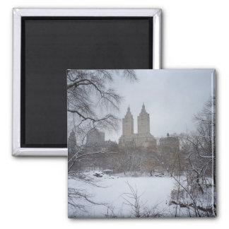 Central Park en invierno, a través de los árboles Imán Cuadrado