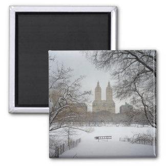 Central Park en la nieve, New York City Imán Cuadrado
