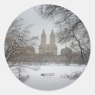 Central Park en la nieve, New York City Pegatina Redonda