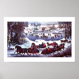 Central Park en litografía del vintage del inviern Poster