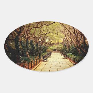 Central Park Fairy Tale Spring Path - New York Oval Sticker