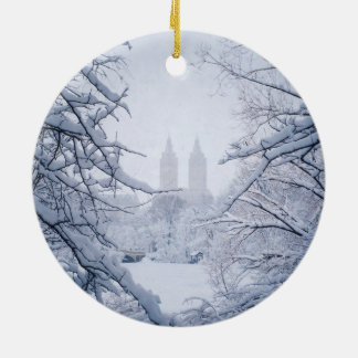 Central Park Framed In Snow and Ice Ceramic Ornament