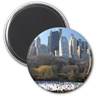 Central Park Ice Rink 2 Inch Round Magnet