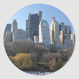 Central Park Ice Rink Round Stickers