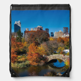 Central park in autumn foliage New York Drawstring Bag