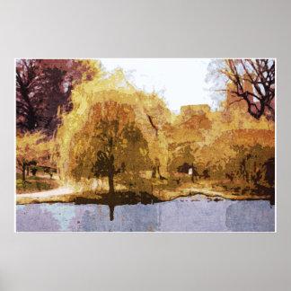 Central Park in Autumn poster, framed or unframed Poster