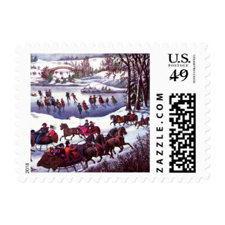 Central Park in Winter. Christmas Postage Stamps