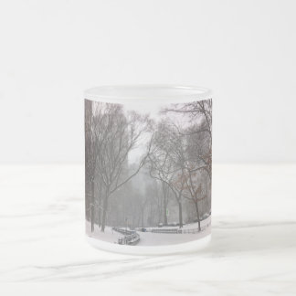 Central Park in Winter Frosted Glass Coffee Mug