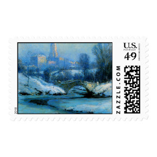 Central Park in WInter Postage Stamps