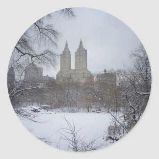 Central Park in Winter, Through the Trees Classic Round Sticker
