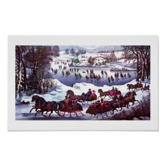 Central Park in Winter Vintage Lithograph Posters