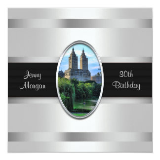Central Park Lake San Remo NYC 2 Birthday Party 5.25x5.25 Square Paper Invitation Card