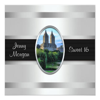 Central Park Lake, San Remo NYC Sweet 16 Party 5.25x5.25 Square Paper Invitation Card