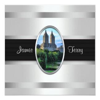 """Central Park Lake, San Remo NYC Wedding Invitation 5.25"""" Square Invitation Card"""