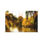 Central park lake stretched canvas prints