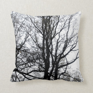 Central Park late autumn almost Barren Tree B&W Throw Pillow