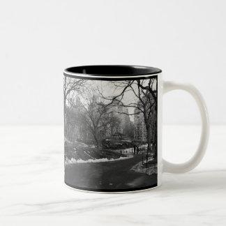 Central Park negro del blanco NY Taza De Café