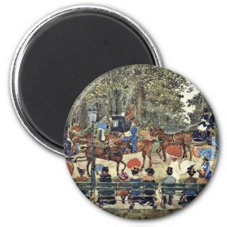 Central Park New York By Prendergast Maurice Brazi 2 Inch Round Magnet