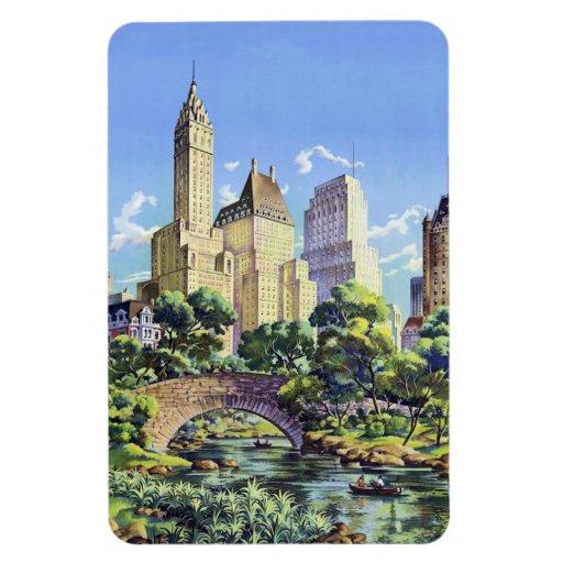 Central Park New York City del vintage Imán Rectangular