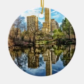 Central Park New York City NYC Adorno Navideño Redondo De Cerámica