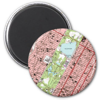 Central Park New York City Vintage Map 2 Inch Round Magnet