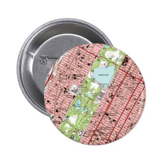 Central Park New York City Vintage Map Button