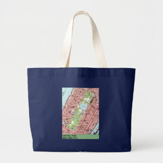 Central Park New York City Vintage Map Large Tote Bag